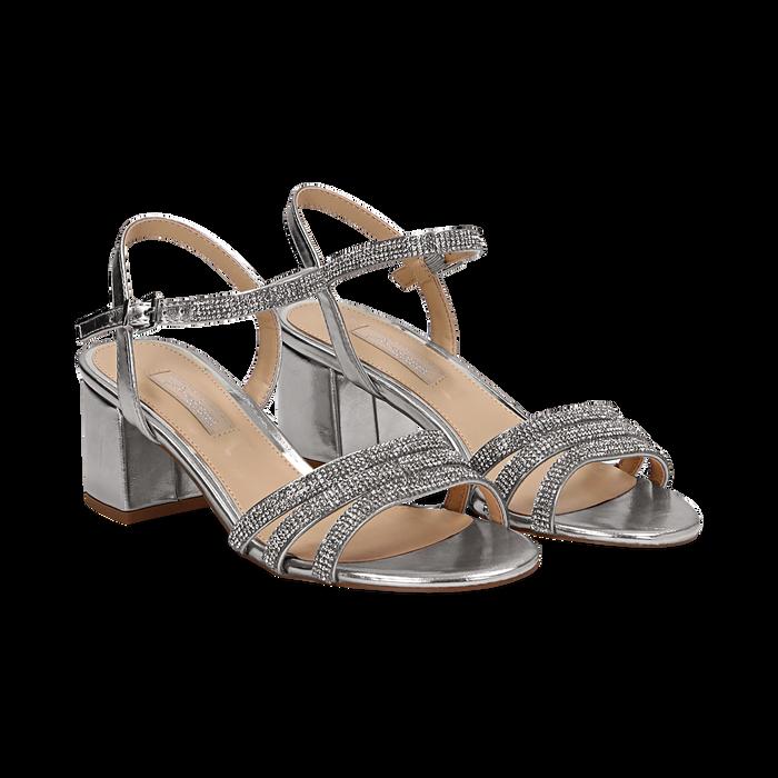ab5352c58ebb3 Sandali argento eleganti tacco medio