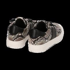 Sneakers bianco/nere stampa pitone, Primadonna, 162619071PTBINE035, 004 preview