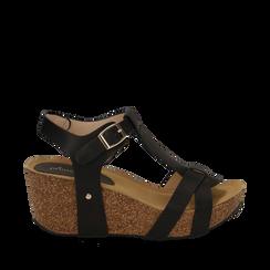 Sandali platform neri in eco-pelle, zeppa in sughero 7 cm , Primadonna, 132141452EPNERO037, 001a