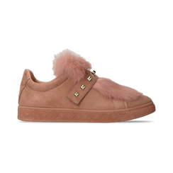 Sneakers rosa nude slip-on con dettagli faux-fur e borchie, Primadonna, 129300023MFNUDE036, 001 preview