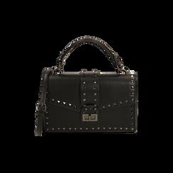 Borsa a mano borchiata nera, IDEE REGALO, 165122990EPNEROUNI, 001 preview