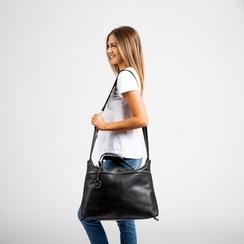 Maxi-bag nera in ecopelle, Primadonna, 122901475EPNEROUNI, 006