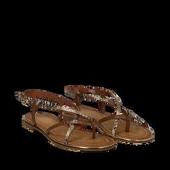 Sandali flat beige in eco-pelle, dettagli snake skin, Saldi Estivi, 134987048PTBEIG035, 002a