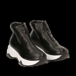 Sneakers a calza nere in eco-pelle, zeppa 5 cm , Scarpe, 142008357EPNERO035, 002a