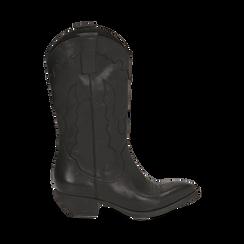Camperos neri in pelle, tacco 4 cm, Primadonna, 157732902PENERO036, 001a