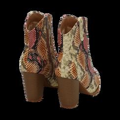 Santiags rose/beige en simili-cuir imprimé serpent, talon 9 cm, Chaussures, 154930037PTRSBE035, 004 preview