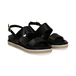 Sandali platform neri in eco-pelle, zeppa 4 cm,
