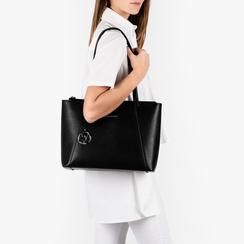 Maxi-bag nera in eco-pelle, Primadonna, 155768941EPNEROUNI, 002a