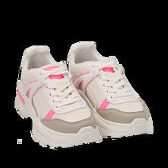 Dad shoes bianche/fucsia fluo in tessuto, Sneakers, 154106013TSBIFU035, 002a