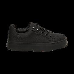 Sneakers nere glitter, suola 4 cm , Scarpe, 142509512GLNERO038, 001 preview