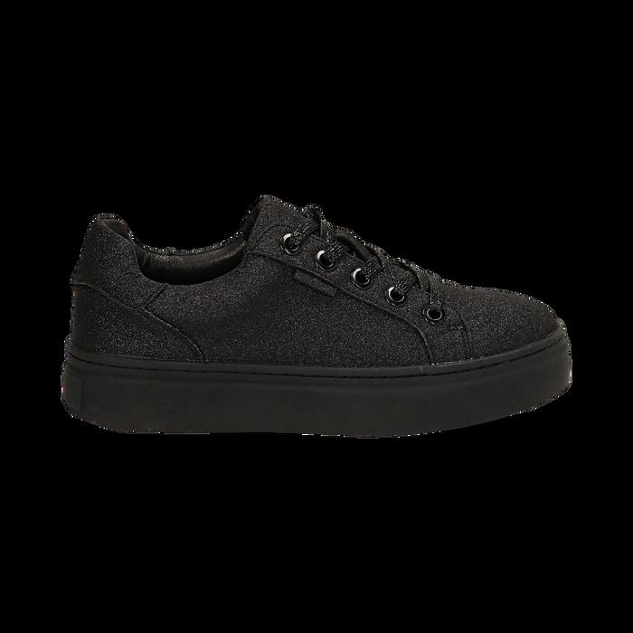 Sneakers nere glitter, suola 4 cm , Scarpe, 142509512GLNERO038