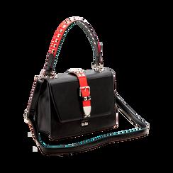 Mini bag nero-rossa in ecopelle con borchie, Saldi Borse, 121909421EPNERSUNI, 003 preview