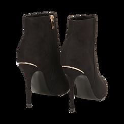 Ankle boots neri in microfibra, tacco 10,5 cm , Scarpe, 142168616MFNERO035, 004 preview