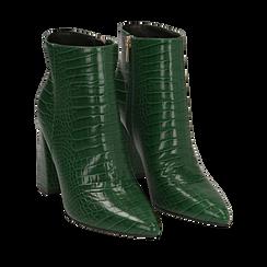 Ankle boots verdi stampa cocco, tacco 9,5 cm , Stivaletti, 142186672CCVERD036, 002a
