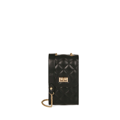 Porte téléphone noir matelassé, SACS, 165123155EPNEROUNI, 001a