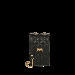 Bolsita para el teléfono negro matelassé, Bolsos, 165123155EPNEROUNI, 001a