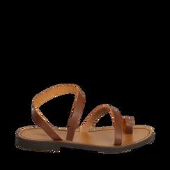 Sandali minimal cuoio in pelle di vacchetta, 138100064VACUOI035, 001a