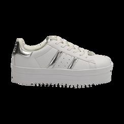 Sneakers bianche in eco-pelle con suola platform 4 cm, Scarpe, 130101010EPBIAN036, 001 preview