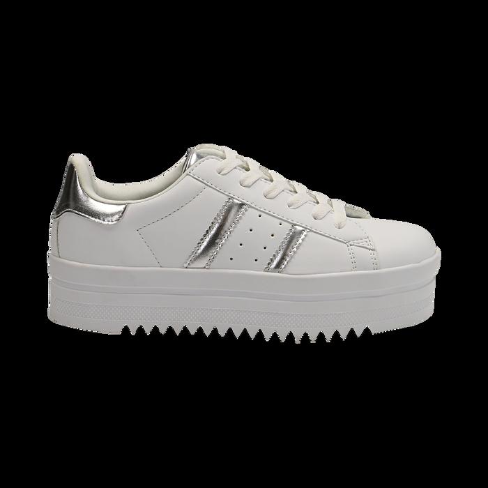 Sneakers bianche in eco-pelle con suola platform 4 cm, Scarpe, 130101010EPBIAN036