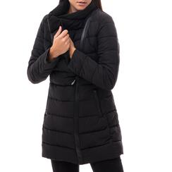 Piumino nero in nylon con chiusura asimmetrica, Abbigliamento, 146501208NYNERO3XL, 001a