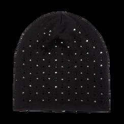 Berretto invernale nero in tessuto con strass, Saldi Abbigliamento, 12B490741TSNERO3XL, 001a