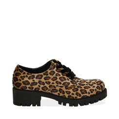 Stringate leopard in eco-cavallino , Scarpe, 140585669CVLEMA035, 001a