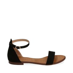 Sandali neri in microfibra, 154903091MFNERO035, 001a