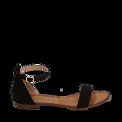Sandali neri in microfibra, Chaussures, 154903091MFNERO035, 001a