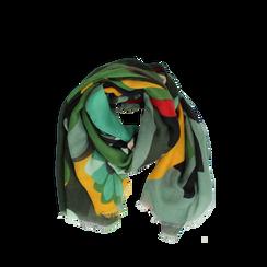 Pashmina verde in tessuto con stampa Seventies, Abbigliamento, 14B491016TSVERD3XL, 002a