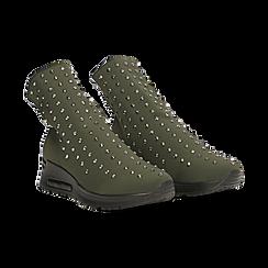 Sneakers verdi slip-on in lycra con cristalli, Primadonna, 122808611LYVERD035, 002 preview
