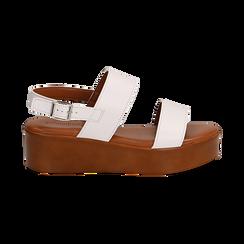 Sandali platform bianchi in eco-pelle, zeppa 5 cm , Saldi, 13A133254EPBIAN036, 001 preview