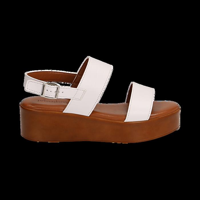 Sandali platform bianchi in eco-pelle, zeppa 5 cm , Saldi, 13A133254EPBIAN036