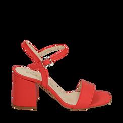 Sandalo corallo in eco-pelle, tacco 8 cm, Sandali con tacco, 136119006EPCORA038, 001a