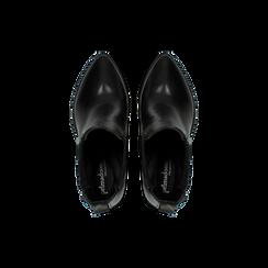 Stivaletti Camperos neri in vera pelle con banda elastica, tacco 8,5 cm, Primadonna, 128900400VINERO036, 004 preview