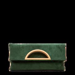 Pochette verde in microfibra scamosciata, Saldi Borse, 123308714MFVERDUNI, 001a
