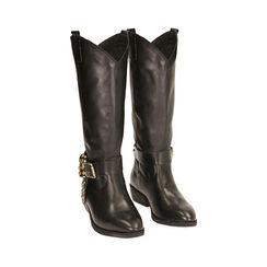 Camperas negro de piel, tacón 4,5 cm, Primadonna, 18L605510PENERO037, 002a