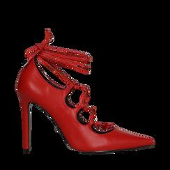 Décolleté rosse con lacci sul collo del piede, tacco stiletto 10 cm, Primadonna, 122166011EPROSS036, 001a