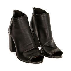 Tronchetti open toe neri in pelle, tacco 9 cm , Primadonna, 17A517014PENERO037, 002 preview