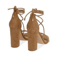 Sandali lace-up cognac in microfibra, tacco 10,5 cm , Primadonna, 172760851MFCOGN036, 004 preview