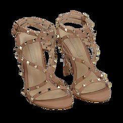 Sandali borchiati nude in eco-pelle, tacco 10,50 cm, Primadonna, 152131515EPNUDE035, 002a