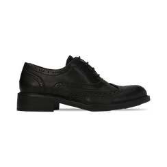 Francesine stringate nere, eco-pelle punzonata, Scarpe, 120618203EPNERO, 001 preview