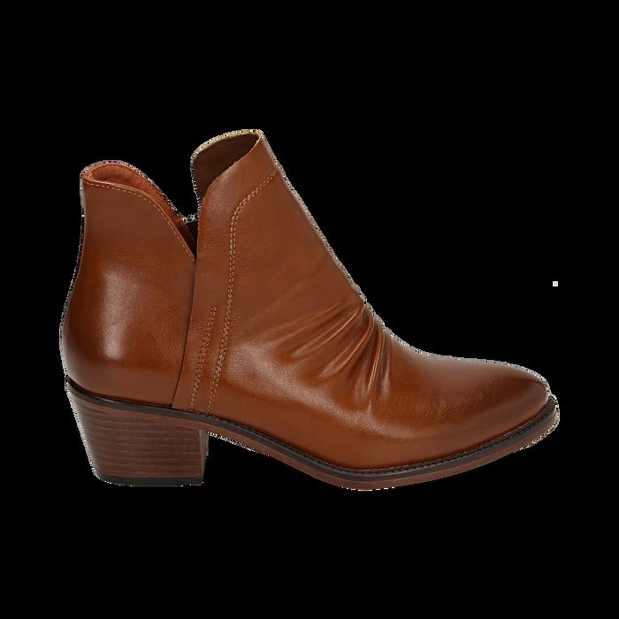 Ankle boots cuoio, tacco 4,50 cm, Primadonna, 150693110EPCUOI036