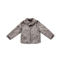 Pelliccia grigia corta eco-fur, manica lunga, Saldi, 12B432301FUGRIGL, 001 preview