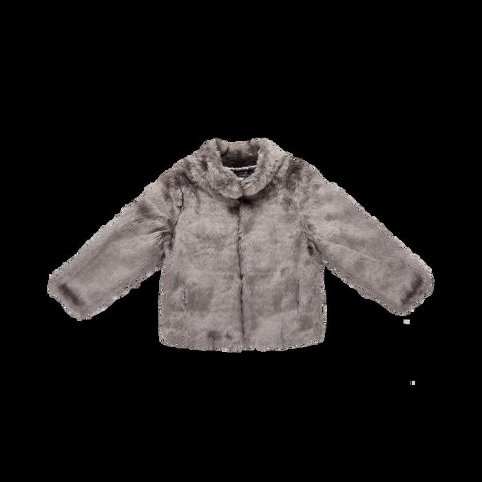 Pelliccia grigia corta eco-fur, manica lunga, Saldi, 12B432301FUGRIG