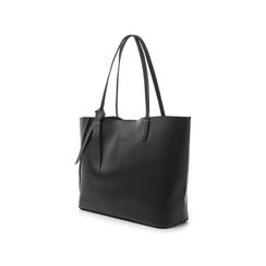 Shopping bag nera in eco-pelle con fiocco decor, Borse, 133782945EPNEROUNI, 004 preview