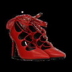 Décolleté rosse con lacci sul collo del piede, tacco stiletto 10 cm, Primadonna, 122166011EPROSS036, 002 preview