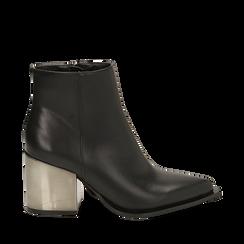 Ankle boots neri in eco-pelle, tacco metal 8 cm , Stivaletti, 142182641EPNERO036, 001a
