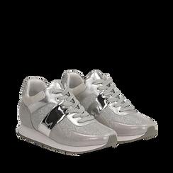 Sneakers glitter argento con dettaglio mirror, 132899414GLARGE035, 002a