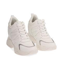 Sneakers bianche, zeppa 4 cm , Primadonna, 182815552EPBIAN035, 002a