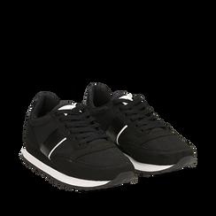 Sneakers nere in tessuto tecnico , Scarpe, 142619079TSNERO036, 002a